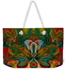 Weekender Tote Bag featuring the painting Casting Spells by Omaste Witkowski