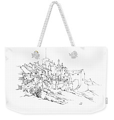 Weekender Tote Bag featuring the drawing Castletown Coastal Houses by Paul Davenport