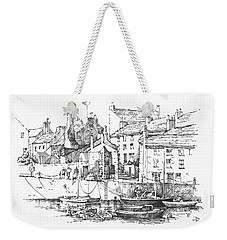 Weekender Tote Bag featuring the drawing Castletown Harbour by Paul Davenport