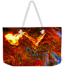 Weekender Tote Bag featuring the digital art Cat And Caduceus In The Matmos by Richard Thomas