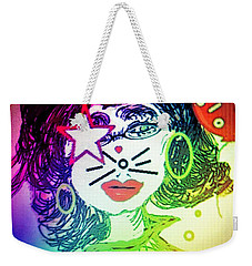 Weekender Tote Bag featuring the mixed media Cat Birthday by Ann Calvo