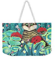 Cat Hiding In The Rainforest Weekender Tote Bag
