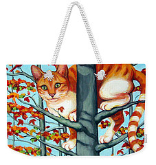 Orange Cat In Tree Autumn Fall Colors Weekender Tote Bag