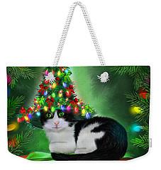 Weekender Tote Bag featuring the mixed media Cat In Xmas Tree Hat by Carol Cavalaris