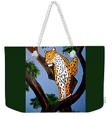 Cat On A Hot Wood Tree Weekender Tote Bag