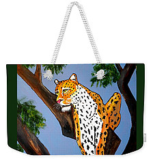 Cat On A Hot Wood Tree Weekender Tote Bag by Nora Shepley