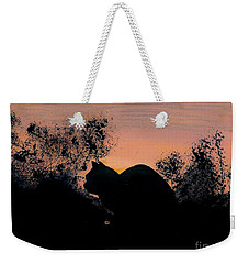 Weekender Tote Bag featuring the drawing Cat - Orange - Silhouette by D Hackett