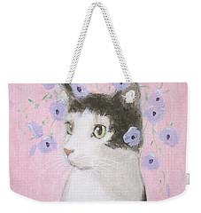 Cat With Purple Flowers Weekender Tote Bag
