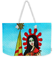 Weekender Tote Bag featuring the painting Catalan Girl In Converse by Don Pedro De Gracia