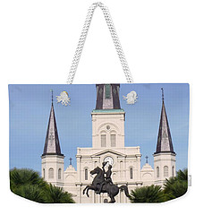 Weekender Tote Bag featuring the photograph Cathedral In Jackson Square by Alys Caviness-Gober