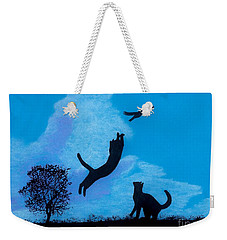 Weekender Tote Bag featuring the drawing Cats -  Playing by D Hackett