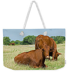 Weekender Tote Bag featuring the photograph Cattle Grazing In Field by Charles Beeler