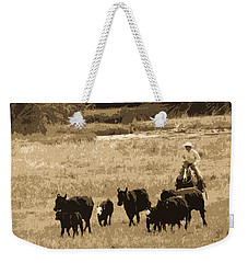 Cattle Round Up Sepia Weekender Tote Bag