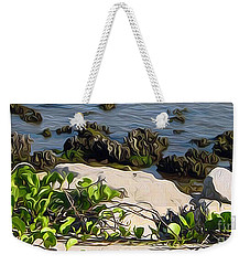 Weekender Tote Bag featuring the painting Causeway Shore Blues by Ecinja