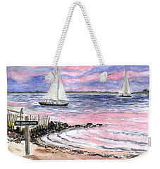 Cedar Beach Pinks Weekender Tote Bag by Clara Sue Beym