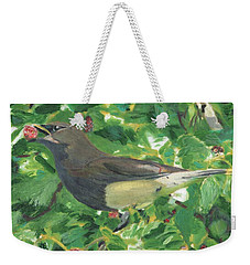Cedar Waxwing Eating Mulberry Weekender Tote Bag