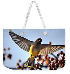Cedar Waxwing Flight Weekender Tote Bag