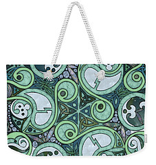Weekender Tote Bag featuring the mixed media Celtic Stormy Sea Mandala by Kristen Fox