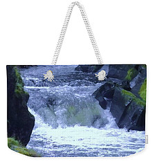 Weekender Tote Bag featuring the photograph Cenarth Falls by John Williams