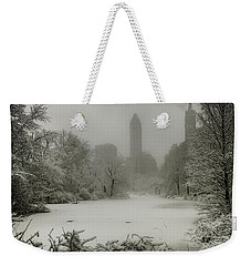 Weekender Tote Bag featuring the photograph Central Park Snowstorm by Chris Lord