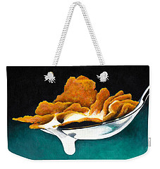 Weekender Tote Bag featuring the painting Cereal In Spoon With Milk by Janice Dunbar
