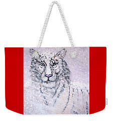 Weekender Tote Bag featuring the painting Chairman Of The Board by Phyllis Kaltenbach