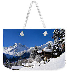 Chalets In A Snow White Valley Weekender Tote Bag by IPics Photography