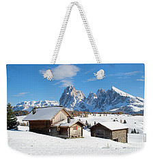 Chalets On The Alpe Di Siusi, Seiser Alm, In The Winter Snow Weekender Tote Bag by IPics Photography