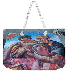 Chalk Painting By Street Artist Weekender Tote Bag by Lingfai Leung