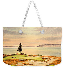 Weekender Tote Bag featuring the painting Chambers Bay Golf Course Hole 15 by Bill Holkham