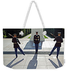 Weekender Tote Bag featuring the photograph Changing Of The Guard by Cora Wandel