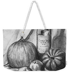 Weekender Tote Bag featuring the drawing Charcoal Still Life Harvest by Dee Dee  Whittle