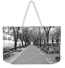 Charleston Waterfront Park Walkway - Black And White Weekender Tote Bag
