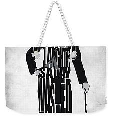 Charlie Chaplin Typography Poster Weekender Tote Bag by Ayse Deniz