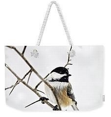 Charming Winter Chickadee Weekender Tote Bag