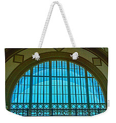 Weekender Tote Bag featuring the photograph Chattanooga Train Depot Stained Glass Window by Susan  McMenamin