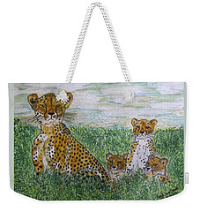 Cheetah And Babies Weekender Tote Bag