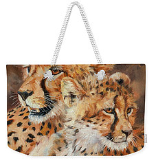 Cheetah And Cub Weekender Tote Bag by David Stribbling