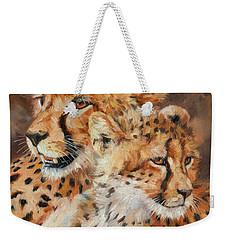 Cheetah And Cub Weekender Tote Bag by David Stribbling