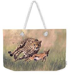 Cheetah And Gazelle Painting Weekender Tote Bag by Rachel Stribbling