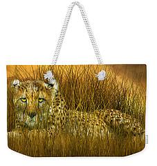 Cheetah - In The Wild Grass Weekender Tote Bag by Carol Cavalaris