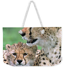 Cheetah Mother And Cub Weekender Tote Bag by Yva Momatiuk John Eastcott