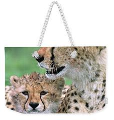 Cheetah Mother And Cub Weekender Tote Bag by Yva Momatiuk John Eastcott
