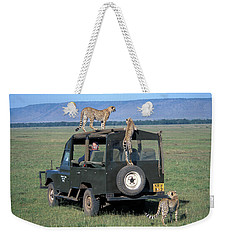 Cheetahs On Four Wheel Drive Vehicle Weekender Tote Bag