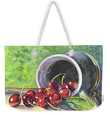 Weekender Tote Bag featuring the painting Cherry Pickins by Carol Wisniewski