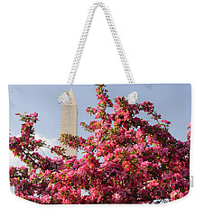 Weekender Tote Bag featuring the photograph Cherry Trees And Washington Monument 5 by Mitchell R Grosky