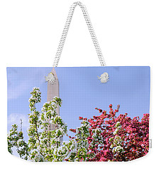 Weekender Tote Bag featuring the photograph Cherry Trees And Washington Monument Four by Mitchell R Grosky