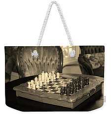 Weekender Tote Bag featuring the photograph Chess Game by Cynthia Guinn