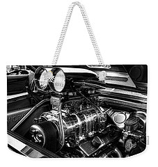 Chevy Supercharger Motor Black And White Weekender Tote Bag