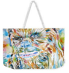 Chewbacca Watercolor Portrait Weekender Tote Bag by Fabrizio Cassetta